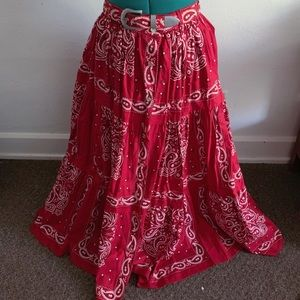 vintage red banana print ankle length circle skirt